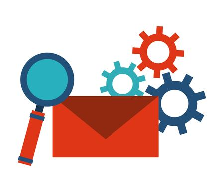 lupe: Blog and Internet concept represented by envelope, gears and lupe design. Colorfull and Flat illustration.