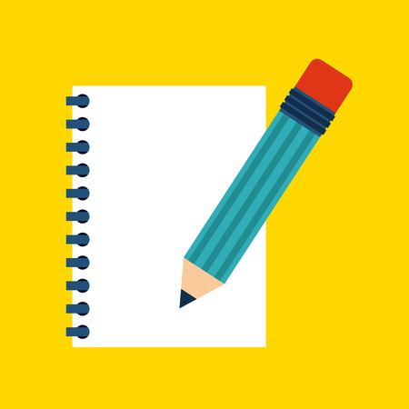 piece of paper: note concept represented by piece of paper and pencil design. Colorfull and Flat illustration. Illustration