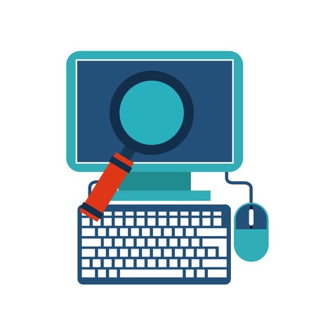 lupe: Technology design represented by computer and lupe icon. Colorfull and flat illustration.