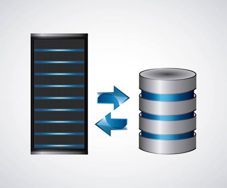data base: Technology and data base design represented by web hosting icon. Colorfull illustration.