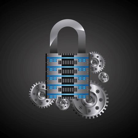 data base: Technology and data base design represented by web hosting and padlock  icon. Colorfull illustration. Illustration