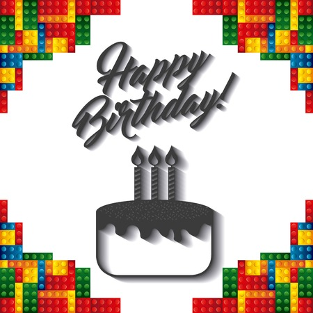Happy Brthday and Celebration concept represented by text over lego pieces frame design. Colorfull illustration.