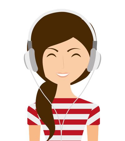 vrouw met een koptelefoon geïsoleerd pictogram ontwerp, vector illustratie grafische