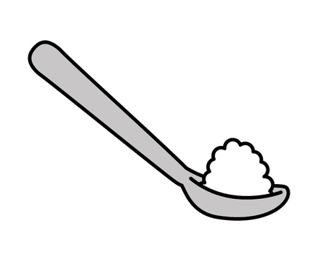 spoon with sugar isolated icon design, vector illustration  graphic