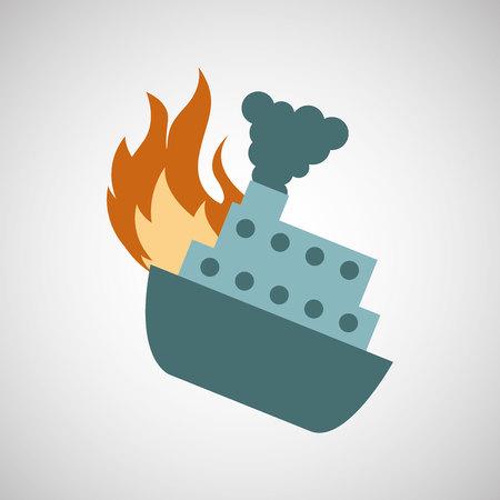 ensure protection insurance risk boat isolated, vector illustration Illustration
