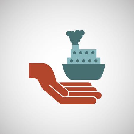 ensure: ensure protection insurance risk boat isolated, vector illustration Illustration