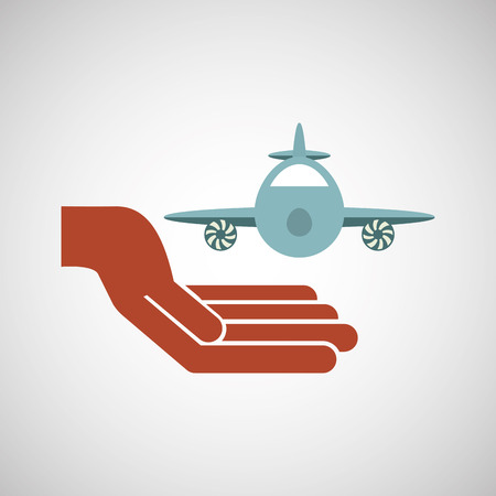 insure: ensure protection insurance risk airplane isolated, vector illustration Illustration