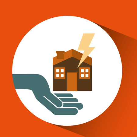 yourself: ensure protection insurance risk home isolated, vector illustration