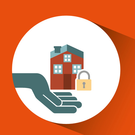ensure: ensure protection insurance risk home isolated, vector illustration
