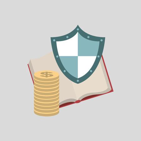 insure: ensure protection insurance risk education isolated, vector illustration Illustration