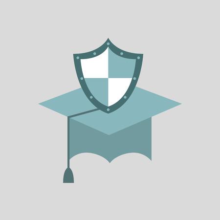 ensure: ensure protection insurance risk education isolated, vector illustration Illustration