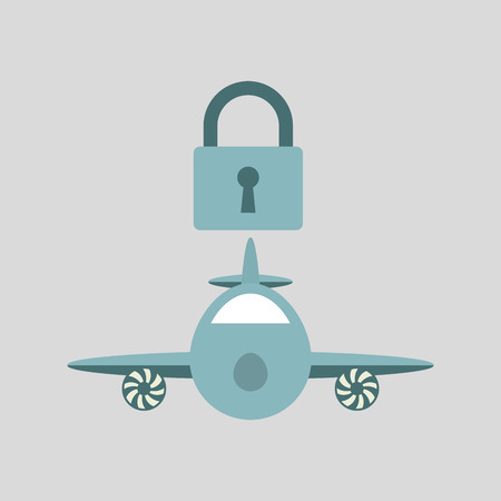 ensure protection insurance risk airplane isolated, vector illustration Illustration