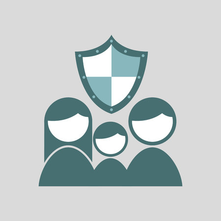ensure: ensure protection insurance risk family isolated, vector illustration
