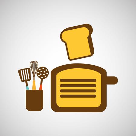 utensilios de cocina: kitchen tools food Cookware isolated, vector illustration Vectores