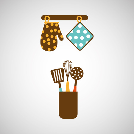 ladles: kitchen tools food Cookware isolated, vector illustration Illustration
