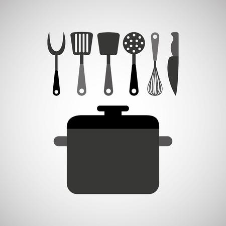 kitchen tools: kitchen tools food Cookware isolated, vector illustration Illustration