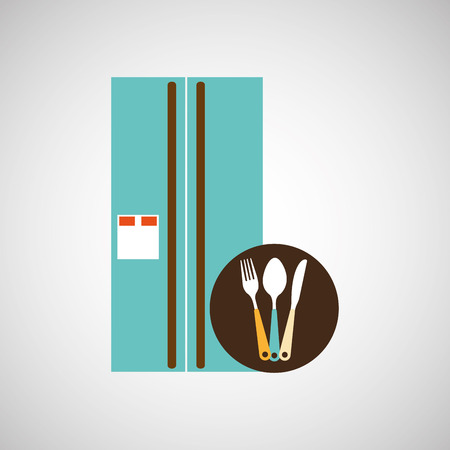 cookware: utensilios de cocina utensilios de cocina alimentos frigorífico aislado, ilustración vectorial Vectores