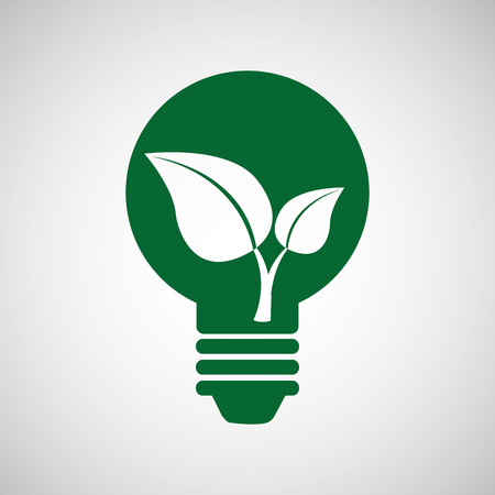 nature protection: ecology eco nature protection bulb leaf isolated, vector illustration
