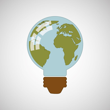 nature protection: ecology eco nature protection bulb map isolated, vector illustration