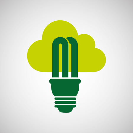 nature protection: ecology eco nature protection bulb cloud isolated, vector illustration Illustration