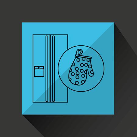 utensilios de cocina: utensilios de cocina utensilios de cocina alimentos frigorífico aislado, ilustración vectorial Vectores