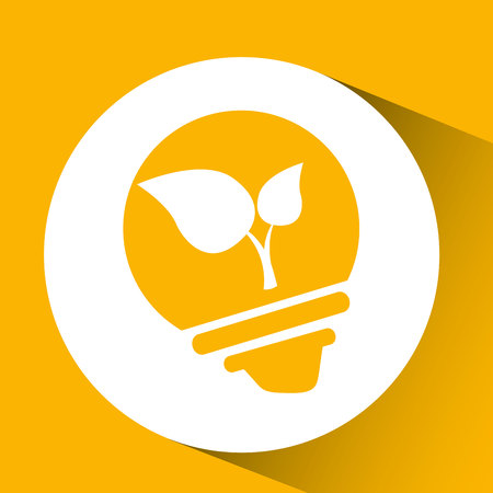 luz natural: la naturaleza eco ecología hoja bombilla de protección aislado, ilustración vectorial