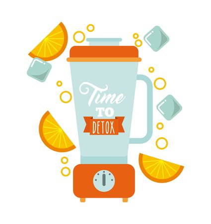 cleansing: Smoothie and Juice concept represented by detox blender icon. Isolated and flat illustration.
