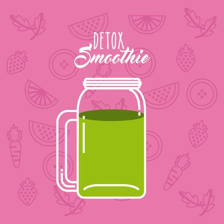 detox: Smoothie and Juice concept represented by green detox icon. Colorfull and flat illustration. Pink Background