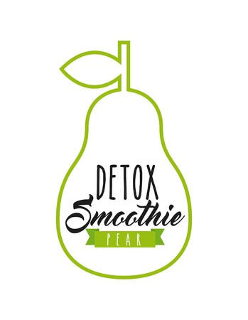 detox: Smoothie and Juice concept represented by pear detox icon. Isolated and flat illustration.