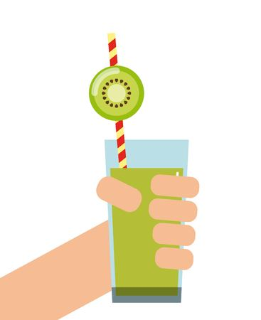 cleansing: Smoothie and Juice concept represented by kiwi detox icon. Isolated and flat illustration.
