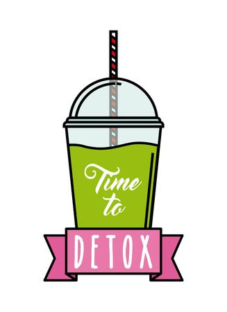 cleansing: Smoothie and Juice concept represented by lemon detox icon. Isolated and flat illustration.