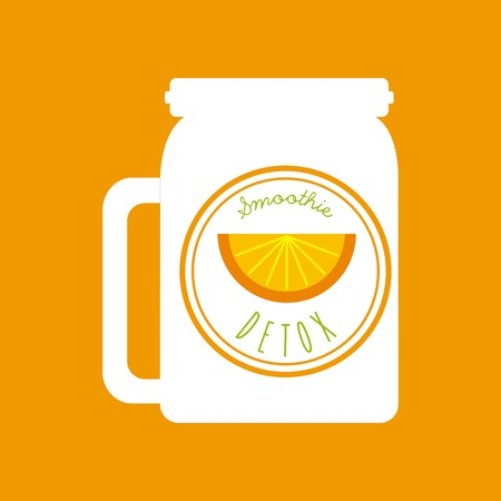 cleanse: Smoothie and Juice concept represented by orange detox icon. Colorfull and flat illustration. Orange Background Illustration