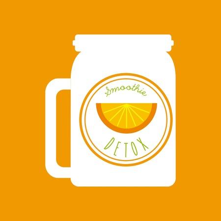 detox: Smoothie and Juice concept represented by orange detox icon. Colorfull and flat illustration. Orange Background Illustration