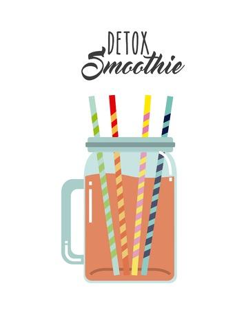 detox: Smoothie and Juice concept represented by detox and drinkingstraw icon. Isolated and flat illustration.