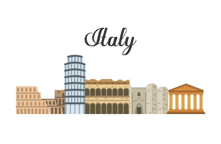 italy culture: Italy culture concept represented by icon set of landmarks. Isolated and flat illustration.