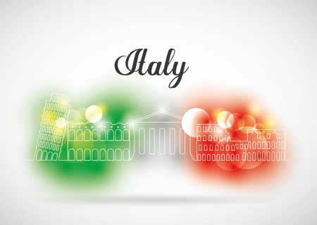 famous place: Italy culture concept represented by flag and famous place icon. Isolated and flat illustration. Blurred lights.