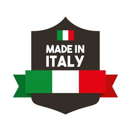 italy culture: Italy culture concept represented by flag with shield icon. Isolated and flat illustration.