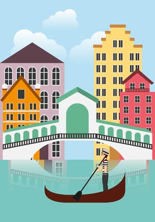 italy culture: Italy culture concept represented by City of Venecia icon. Colorfull and flat illustration.