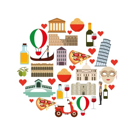 italy culture: Italy culture concept represented by icon set. Isolated and flat illustration.