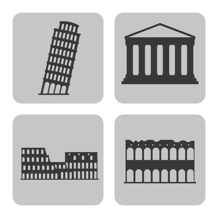 european culture: Italy culture concept represented by icon set of landmarks. Isolated and frames illustration.