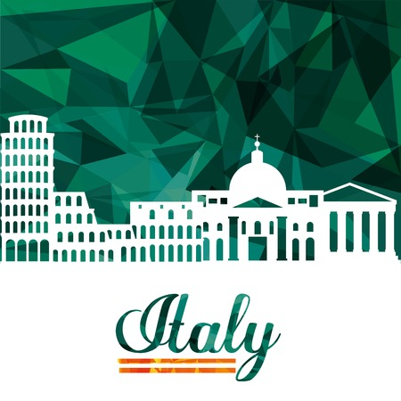 italy culture: Italy culture concept represented by icon set of landmarks. Isolated and Polygonal illustration. Illustration