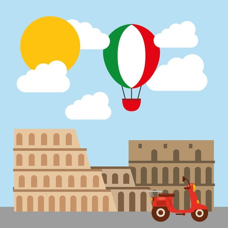 italy culture: Italy culture concept represented by roman coliseum icon. Colorfull and flat illustration.