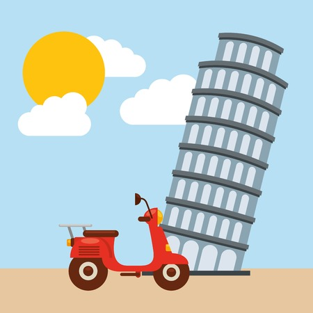 italy culture: Italy culture concept represented by tower of pisa icon. Colorfull and flat illustration.