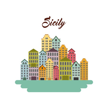italy culture: Italy culture concept represented by sicily city icon. Isolated and flat illustration.