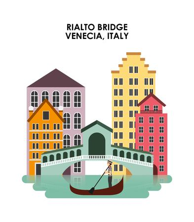 italian culture: Italy culture concept represented by City of Venecia icon. Isolated and flat illustration.
