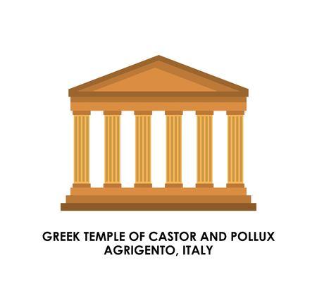 templo griego: Italia concepto de cultura representada por el icono de templo griego. ilustración y plana. Vectores