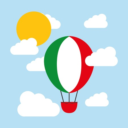 italy culture: Italy culture concept represented by hot air balloon and flag icon. Colorfull and flat illustration.