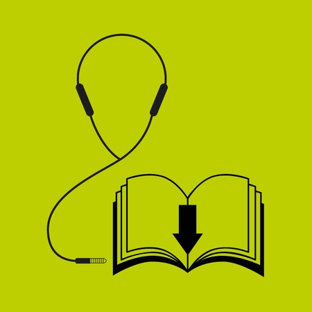 audio book: Audiobooks and online learning concept represented by book and headphone icon. Colorfull and flat illustration.