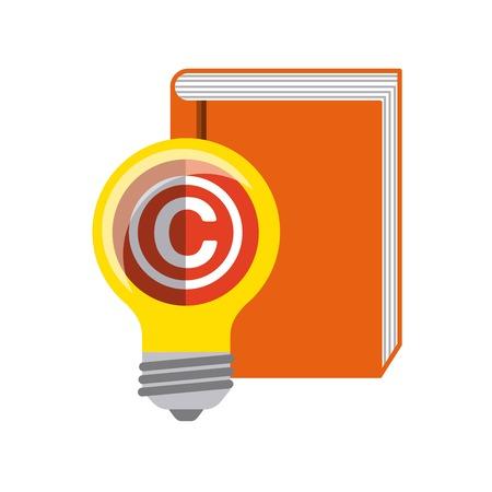 marca libros: concepto de derechos de autor representado por el libro y el icono de la bombilla. Llena de color e ilustración plana. Vectores