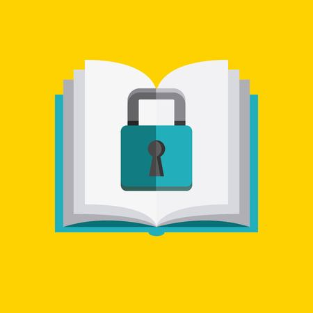 duplication: Copyright concept represented by book and padlock icon. Colorfull and flat illustration. Illustration